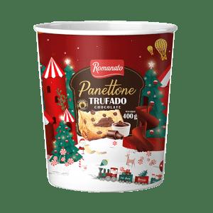 Panetone Romanato Trufado Pote Gotas Chocolate e recheio de Chocolate 400g